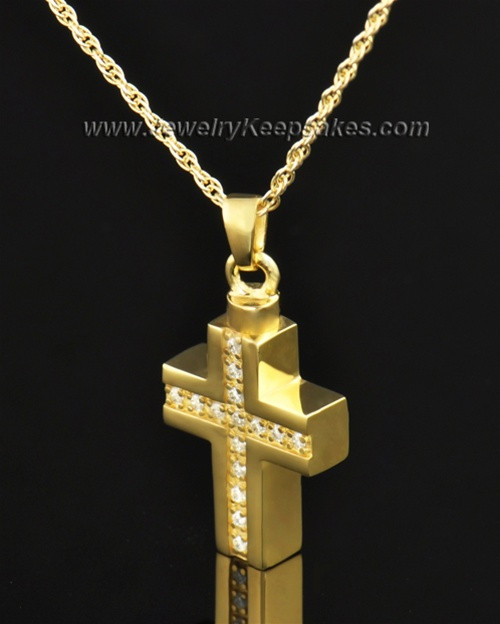 Memorial Jewelry Gold Plated Dazzling Cross Keepsake