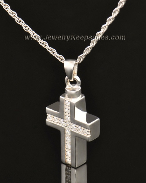 14k White Gold Memorial Jewelry Dazzling Cross Keepsake