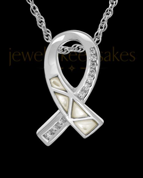 Cremation Locket Sterling Silver Pearly Ribbon Keepsake