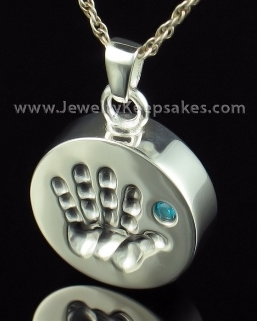 Remembrance Jewelry Sterling Silver My Hand Blue Keepsake