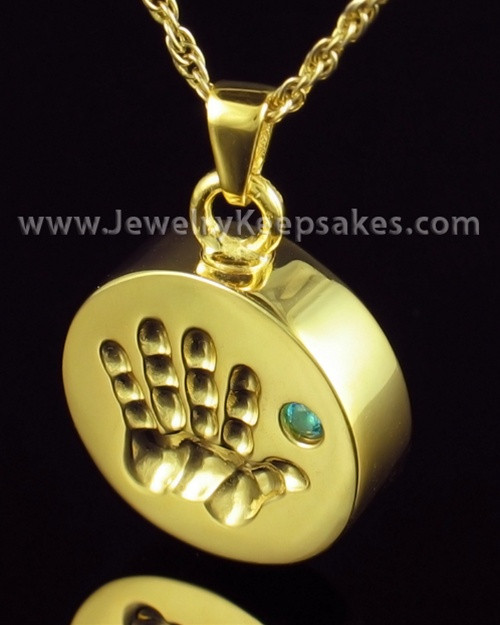 Remembrance Jewelry Gold Plated My Hand Blue Keepsake