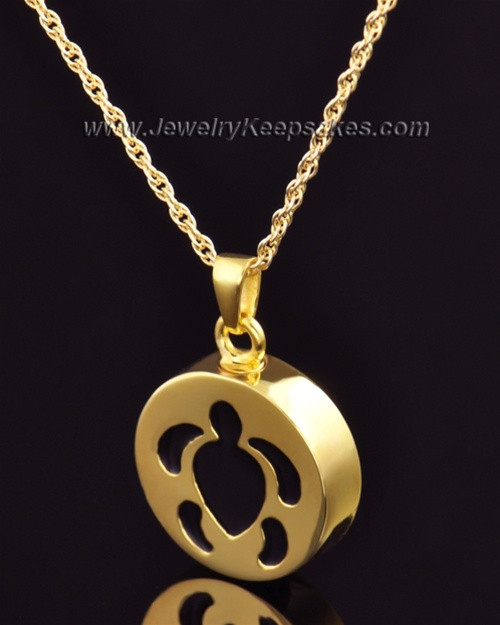 Cremation Pendant Gold Plated Aquatic Keepsake