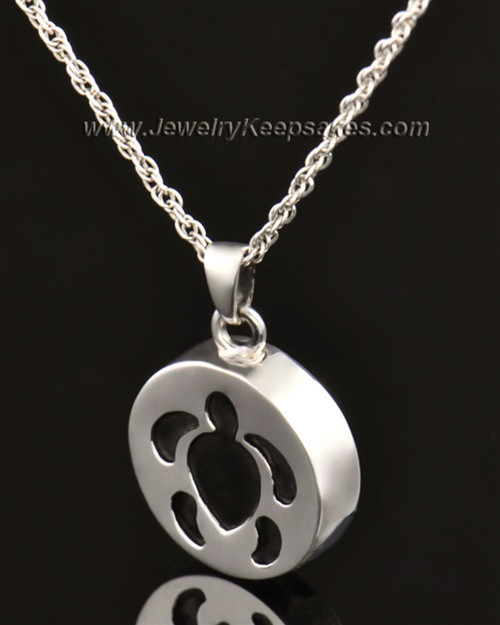 14k White Gold Cremation Pendant Aquatic Keepsake