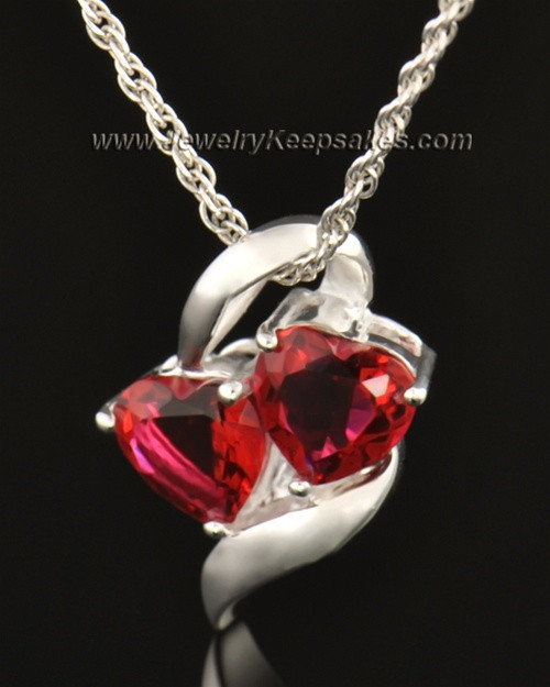 14k White Gold Hearts on Fire Entwined Cremation Necklace