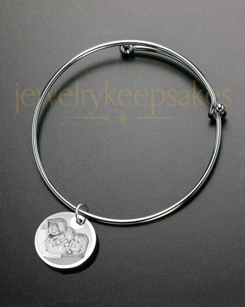 Sophisticate Round Photo Engraved Bracelet