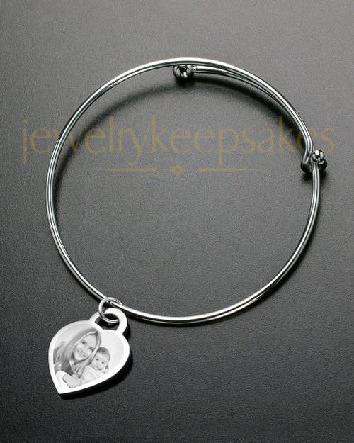 Sophisticate Small Heart Photo Engraved Bracelet