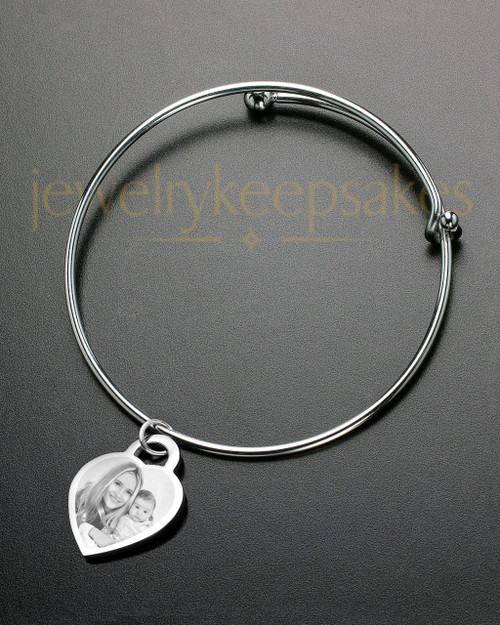 Sophisticate Small Heart Photo Engraved Bracelet
