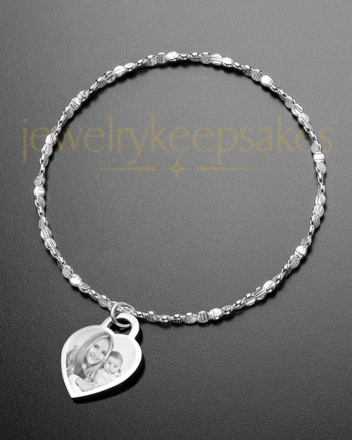 Luxury Small Heart Photo Engraved Bracelet