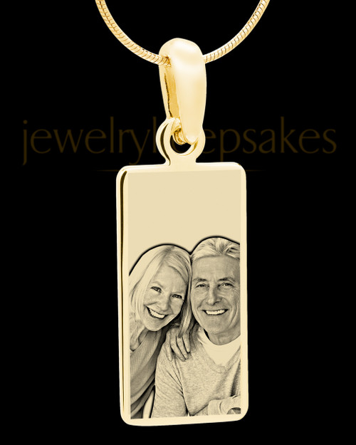 Gold Plated over Stainless Photo Long Rectangle