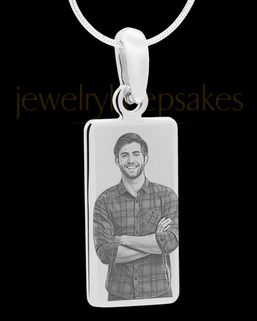 Photo Engraved Stainless Steel Long Rectangle