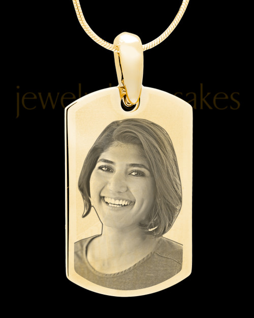 Gold Plated over Stainless Photo Small Dog Tag