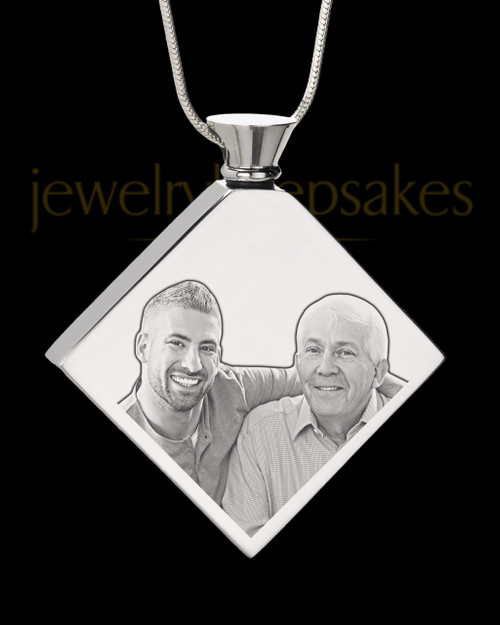 Photo Engraved Diamond Stainless Steel Cremation Pendant