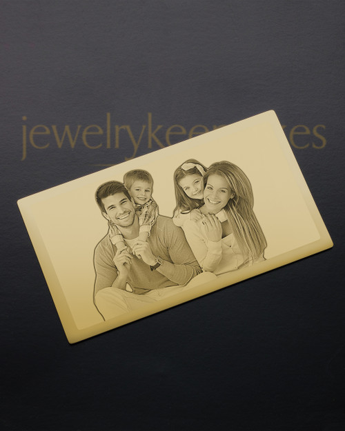 Gold Plated Stainless Memories Photo Engraved Wallet Card
