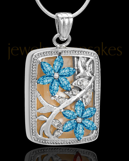 Sterling Silver Blue Spring Garden Memorial Charm