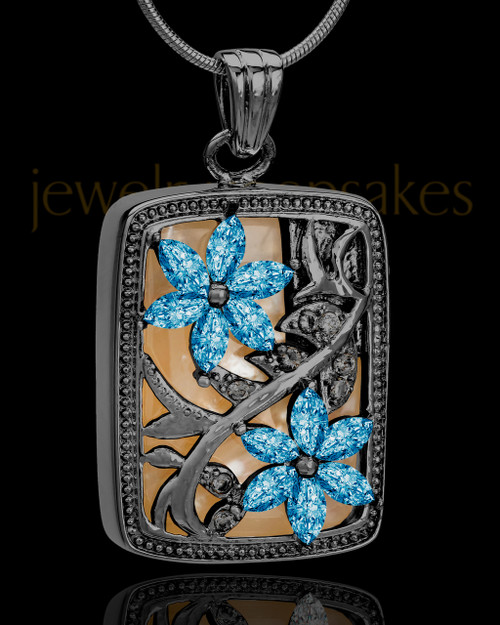 Black and Blue Spring Garden Memorial Charm