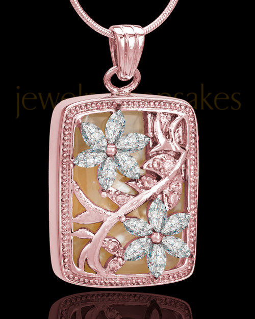 Rose Gold Clear Spring Garden Memorial Charm