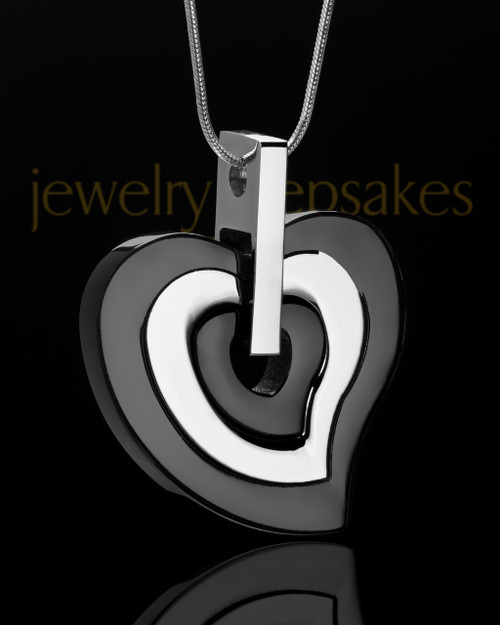 Urn Locket Black and Stainless Gracious Heart