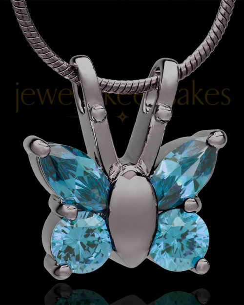 Black Plated Dancing Blue Butterfly Cremation Urn Pendant