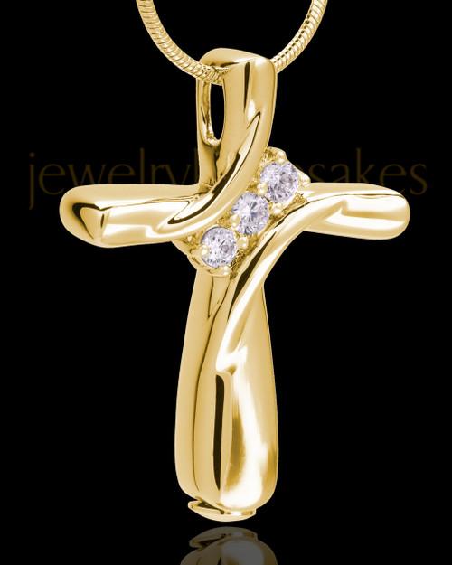 Gold Elegant Cross Cremation Pendant