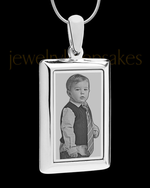 Silver Framed Rectangle Photo Engraved Pendant