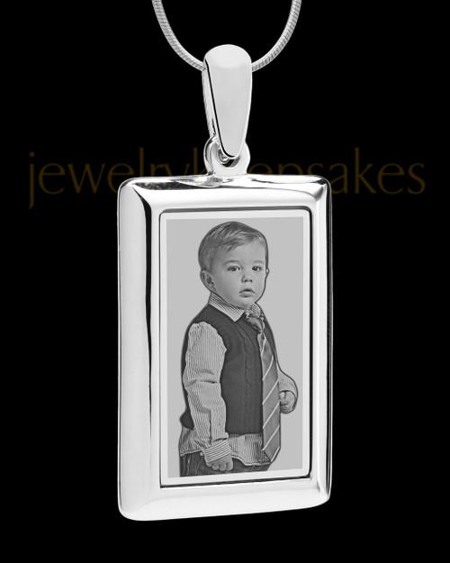 Silver Framed Rectangle Photo Engraved Pendant