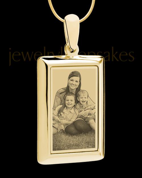 Gold Framed Rectangle Photo Engraved Pendant