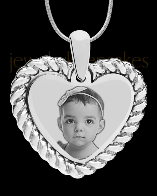 Silver Framed Heart Photo Engraved Pendant