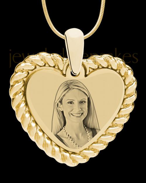 Gold Framed Heart Photo Engraved Pendant