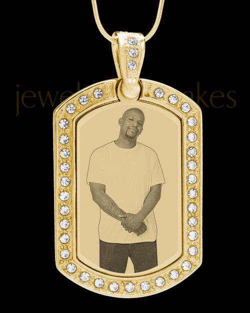 Gold Gem Rectangle Photo Engraved Pendant