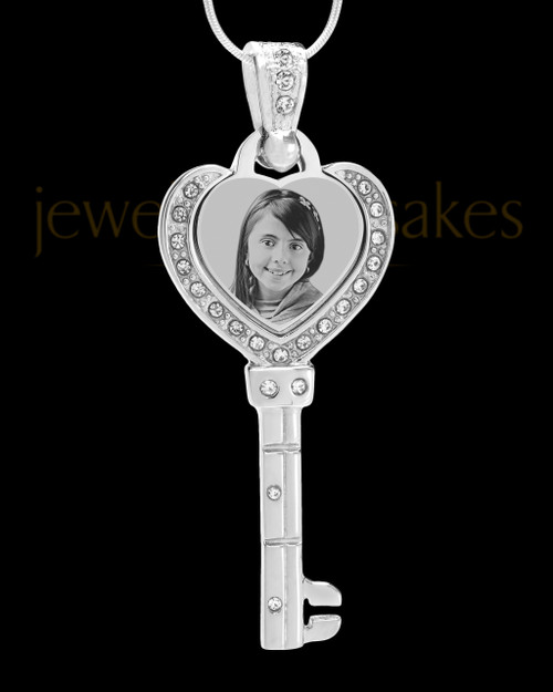 Silver Key To My Heart Photo Engraved Pendant