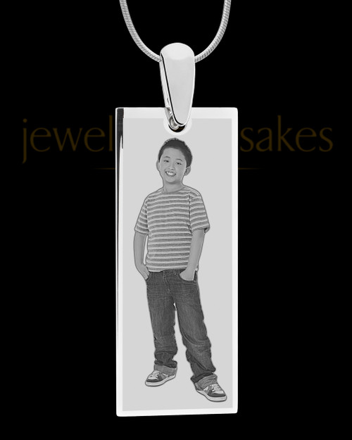 Silver Tall Rectangle Photo Engraved Pendant