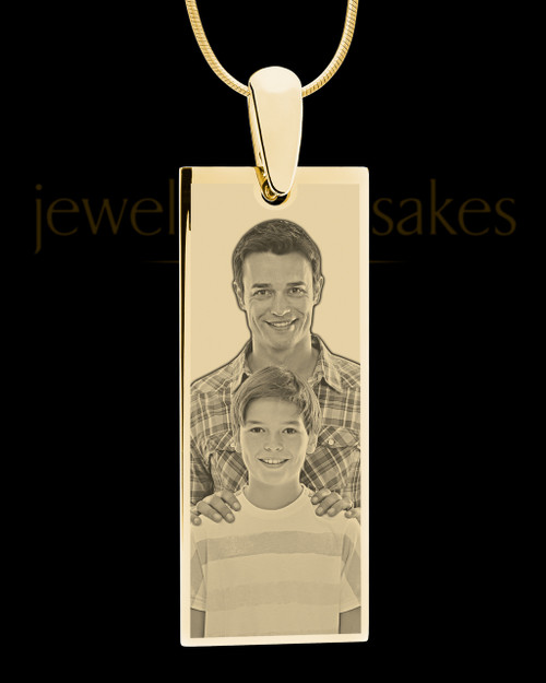 Gold Tall Rectangle Photo Engraved Pendant