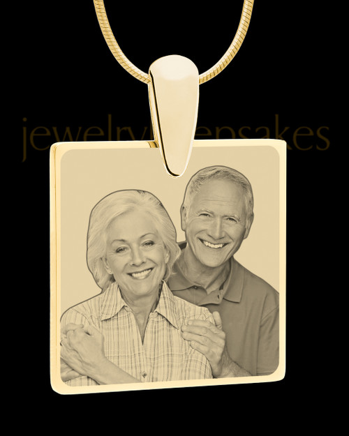 Gold Perfect Square Photo Engraved Pendant