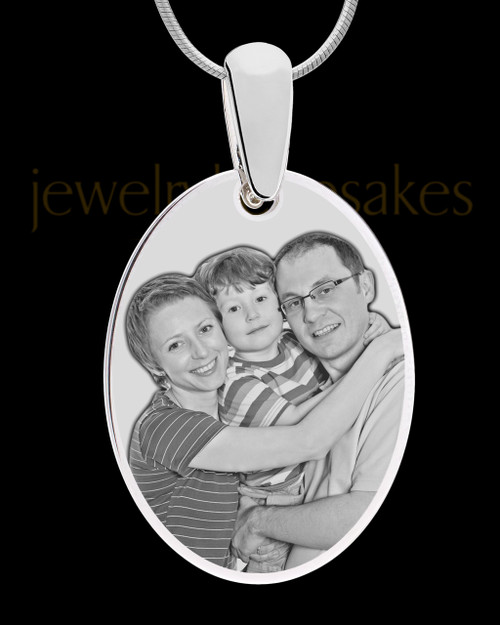 Silver Large Oval Photo Engraved Pendant