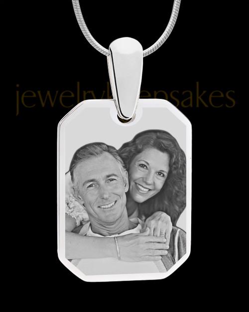 Silver Octagon Photo Engraved Pendant