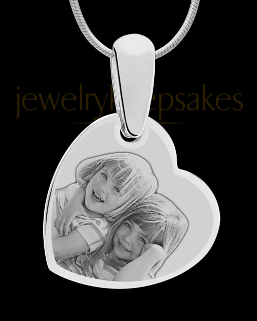 Silver Side Heart Photo Engraved Pendant