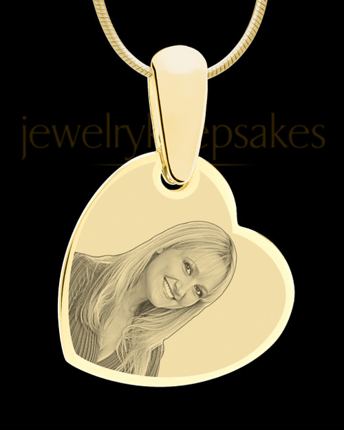 Gold Side Heart Photo Engraved Pendant