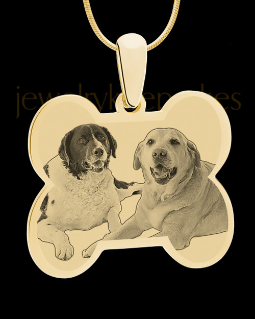 Gold Doggie Bone Photo Engraved Pendant