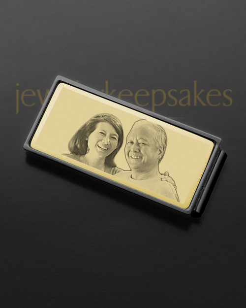 Gold on Black Photo Engraved Money Clip