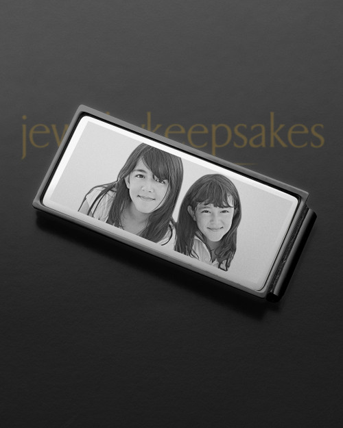 Silver on Black Photo Engraved Money Clip