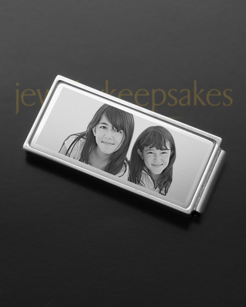 Silver on Silver Photo Engraved Money Clip