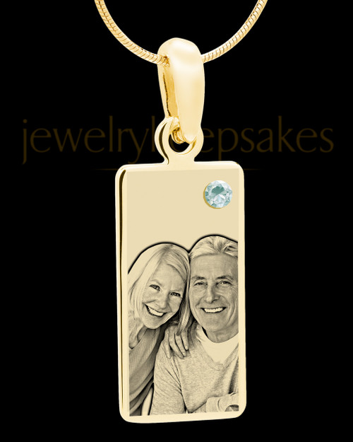 April Photo Engraved Gold Long Rectangle