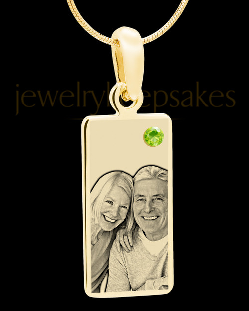 August Photo Engraved Gold Long Rectangle