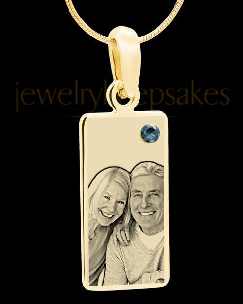 December Photo Engraved Gold Long Rectangle