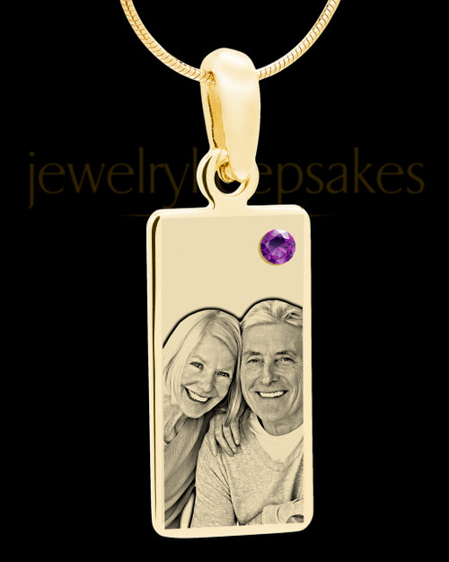 February Photo Engraved Gold Long Rectangle