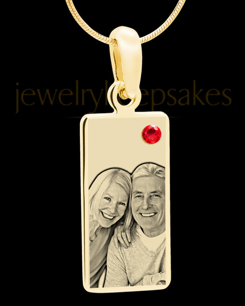 July Photo Engraved Gold Long Rectangle