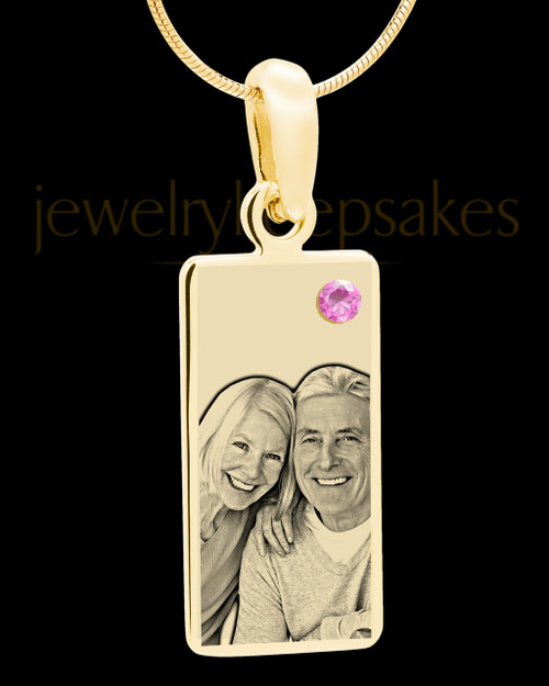 June Photo Engraved Gold Long Rectangle