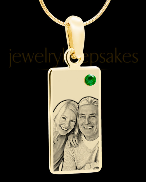 May Photo Engraved Gold Long Rectangle