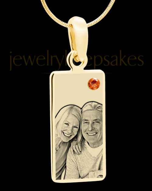 November Photo Engraved Gold Long Rectangle