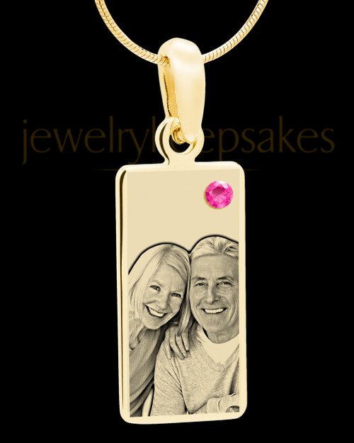 October Photo Engraved Gold Long Rectangle